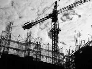-- with crane and scaffolding